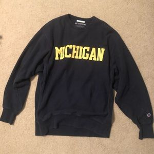 Patched Letter Champion Michigan Crewneck